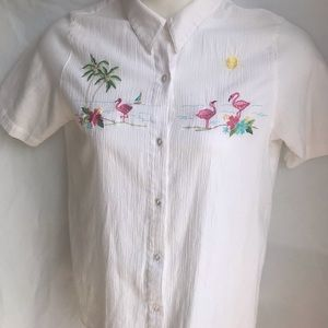 Alfred Dunner embroidered ocean flamingo shirt Lg